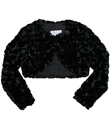 Little Girl Long Sleeve Faux Fur Lined Cardigan