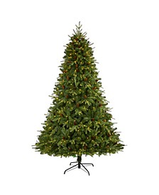 """Wellington Spruce """"Natural Look"""" Artificial Christmas Tree with 550 Clear LED Lights and Pine Cones"""