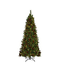 Norway Mixed Pine Artificial Christmas Tree with 450 Clear LED Lights, Pine Cones and Berries