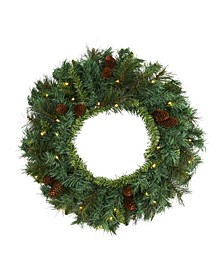 Mixed Pine and Pinecone Artificial Christmas Wreath with 35 Clear LED Lights