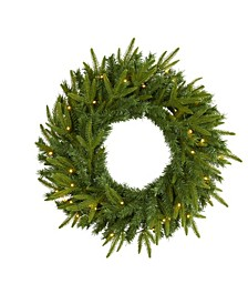 Long Pine Artificial Christmas Wreath with 35 Clear LED Lights