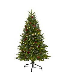 Snow Tipped Portland Spruce Artificial Christmas Tree with Frosted Berries and Pinecones with 100 Clear LED Lights