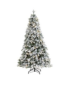 Flocked Vermont Mixed Pine Artificial Christmas Tree with 300 Clear LED Lights