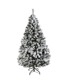 Flocked River Mountain Pine Artificial Christmas Tree with Pinecones