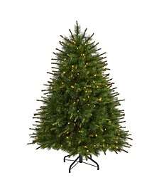 New England Pine Artificial Christmas Tree with 200 Clear Lights and 492 Bendable Branches
