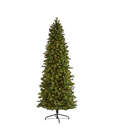 Slim West Virginia Mountain Pine Artificial Christmas Tree with 600 Clear Lights and 1359 Bendable Branches