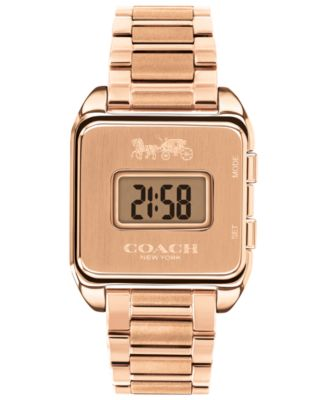 코치 여성 손목 시계 COACH Womens Darcy Digital Rose Gold-Tone Bracelet Watch 37x30mm