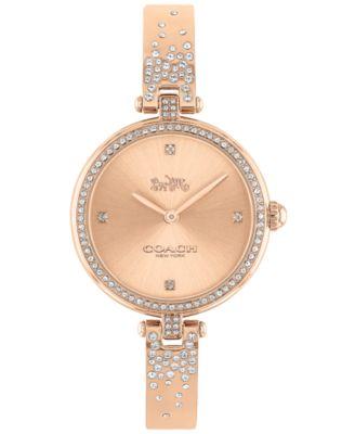 코치 여성 손목 시계 COACH Womens Park Rose Gold-Tone Bangle Bracelet Watch 30mm