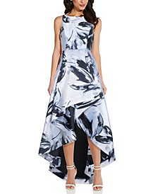 Floral Jacquard High-Low Gown