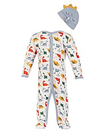 Chick Pea Baby Boy  2pc All Over Dino Print Footed Coverall with Dino Character Hat