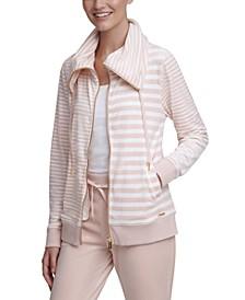 Mixed-Stripe Velour Jacket