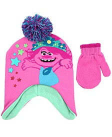 Toddler Girls 2 Piece Trolls Knit Hat with Matching Mittens Set