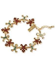 INC Gold-Tone Crystal & Bead Gingerbread Flex Bracelet, Created for Macy's