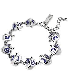 INC Silver-Tone Dreidel Flex Bracelet, Created for Macy's