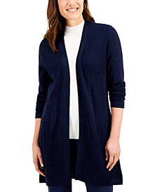Open-Front Mixed-Stitch Cardigan, Created for Macy's