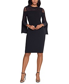 Split-Sleeve Illusion Sheath Dress