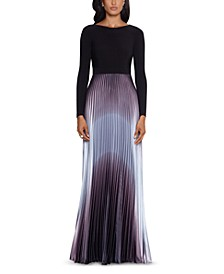Pleated Ombré Gown