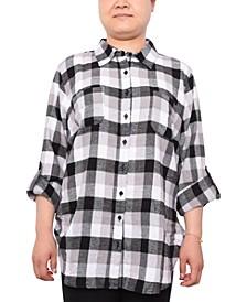 Trendy Plus Size Plaid Button-Front Cotton Top