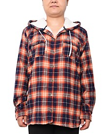 Trendy Plus Size Plaid Hooded Top
