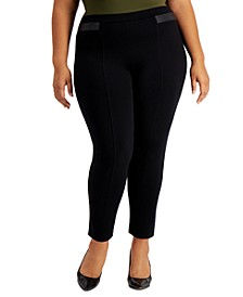 Plus Size Faux-Leather-Trim Pull-On Pants, Created for Macy's