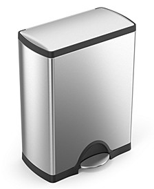 Brushed Stainless Steel 50 Liter Fingerprint Proof Rectangular Step Trash Can