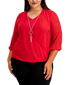 Plus Size Surplice Necklace Top, Created for Macy's