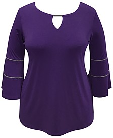 Plus Size Bell-Sleeve Keyhole Top, Created for Macy's