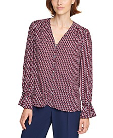 Printed Faux-Pearl-Button Blouse