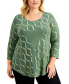 Plus Size Foil-Print Shirttail-Hem Top, Created for Macy's