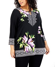Plus Size Printed Embellished 3/4-Sleeve Top, Created for Macy's