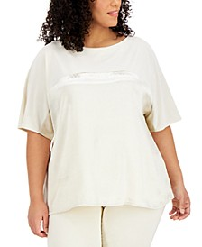 Plus Size Metallic Dolman-Sleeve Top, Created for Macy's