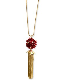 """INC Gold-Tone Crystal & Sequin Flower Chain Tassel Pendant Necklace, 28"""" + 3"""" extender, Created for Macy's"""
