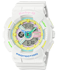 Baby-G Women's Analog-Digital White Resin Strap Watch 43mm