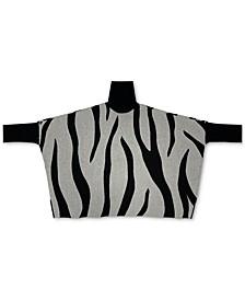 Plus Size Zebra-Print Poncho Sweater, Created for Macy's