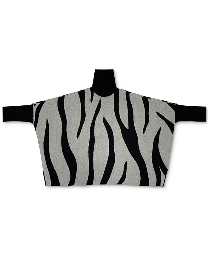 Alfani - Plus Size Zebra-Print Poncho Sweater