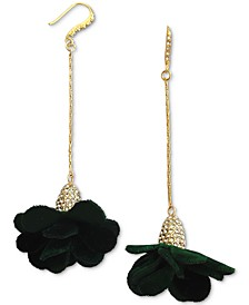 INC Fabric-Flower Drop Earrings, Created for Macy's