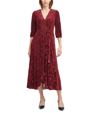 1920s Style Dresses, 20s Dresses Calvin Klein Velvet Floral Maxi Dress $69.99 AT vintagedancer.com