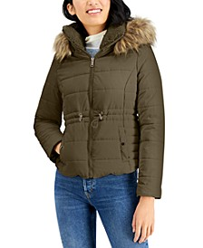 Juniors' Faux-Fur-Trim Hooded Anorak Puffer Coat