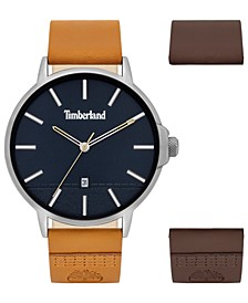 Men's Light Brown Leather Strap Watch 42mm Gift Set