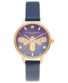 Women's Sparkle Bee Navy Leather Strap Watch 30mm