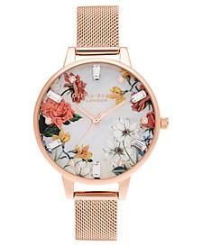 Women's Sparkle Floral Rose Gold-Tone Mesh Bracelet Watch 34mm