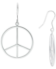 Peace Sign Drop Earrings in Sterling Silver, Created for Macy's