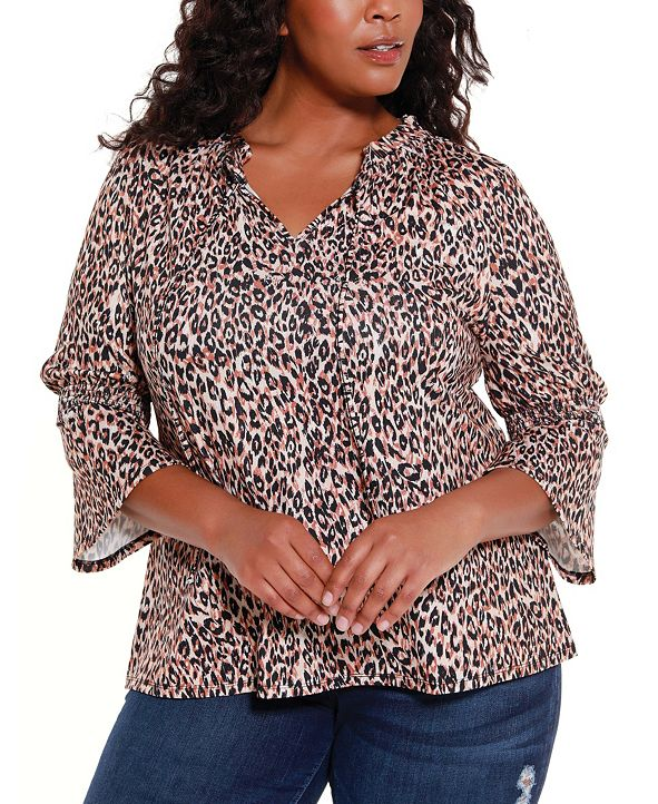 Belldini Black Label Women's Plus Size Ruffle Neck with Bell Sleeve Top