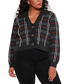 Black Label Women's Plus Size Lurex Plaid Button Down Cardigan