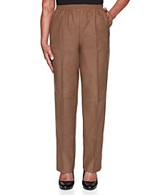 Petite Classic Textured Solid Pull-On Pants