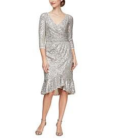 Sequinned Flounce-Hem Midi Dress