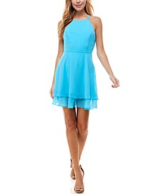 Juniors' Double-Ruffle Chiffon Fit & Flare Dress