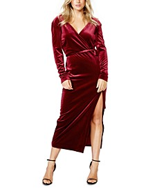 Velvet Slit Wrap Dress
