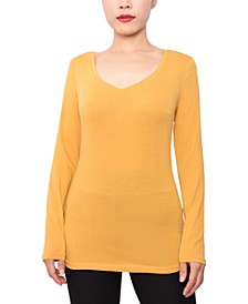 Juniors' V-Neck Long-Sleeved Top
