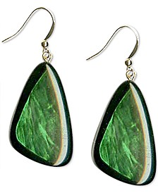 Gold-Tone Green Resin Shell Drop Earrings, Created for Macy's